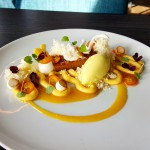 PInenut and White Chocolate Cake, Passion Fruit Cremeaux and Ice Cream
