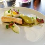 White Chocolate and Pistachio Spring Roll, Granny Smiith Sorbet